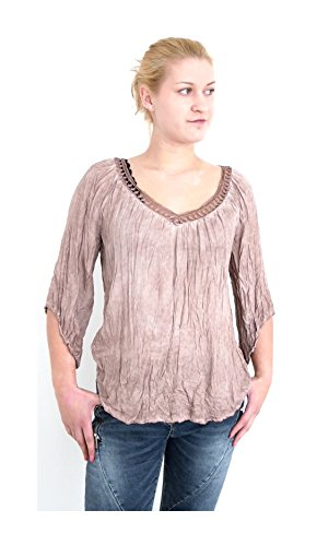 Romantik Style Crinkle Bluse Häkel Spitze V-Ausschnitt Tunika Shirt Top washed Optik S M 36 38 40...