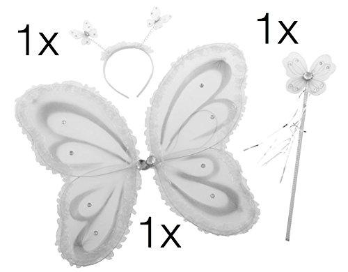 Prinzessin für Mädchen Feenflügel Eisprinzessin Diadem ZauberstabStirnband Schmetterling Flügel Flügel Umhang mit Stab Zauberstab und Kopf an Fasching und Karneval (Butterfly Set weiß) (Weiße Feenflügel)