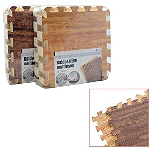Ar- Alfombra-Puzzle Goma eva Madera 9 piezas-90x90cm, (39148)