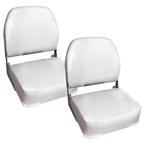 [pro.tec] 2x Bootssitz / Kapitänsstuhl aus wasserfestem Kunstleder / UV- beständig (weiß)