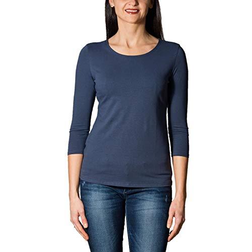 Alkato Damen Shirt 3/4 Arm mit Rundhals, Farbe: Jeans, Größe: S -