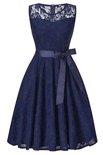 MisShow Damen Ballkleid Abschlusskleid Spitze Rockabilly Abendkleid Petticoat Knielang Navy Blau XXL