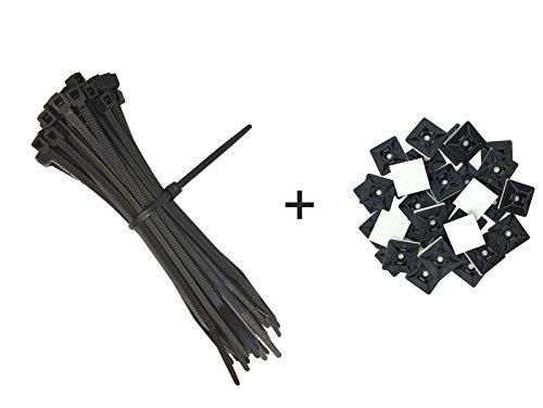 Preisvergleich Produktbild intervisio Set Kabelbinder 200mm Schwarz 100 Stück und Klebesockel 19mm Schwarz 50 Stück