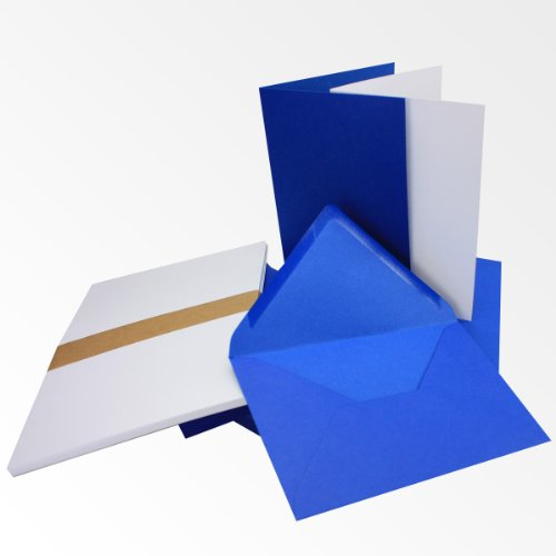 Einladungskarten inklusive Briefumschläge & Einlegeblätter | 25er-Set | Blanko Klapp-Karten in Royal-Blau | bedruckbare Post-Karten in DIN B6 Format | speziell zum Selbstgestalten & Kreieren