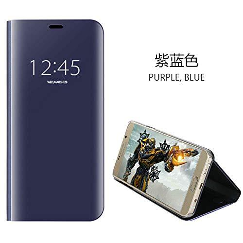 Funda XiaoMi Mi 8 lite,Carcase XiaoMi Mi 8 lite+Protector de Pantalla Clear Standing Flip Case Caso Skin espejo estilo libro carcasa con óptica de aluminio Cover plegable en reflectante Púrpura-azul