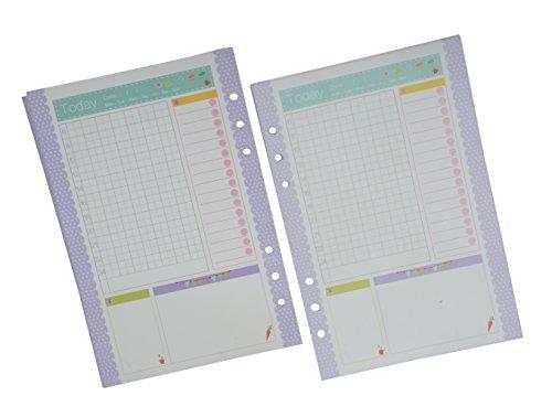 Funcoo 2 juegos de 45 hojas de recambios de papel para rellenar hojas tamaño A5, papel de planificador para 6 agujeros, carpeta, diario, agenda de día, cuaderno, color Lined-2