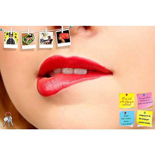 ArtzFolio Red Gloss Lips Printed Frameless Bulletin Board Notice Pin Board 24 X 16Inch -