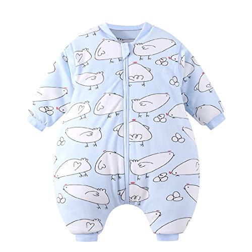 Happy Cherry - Winter Schlafsack Baumwolle mit Beinen Wattiert Baby Schlafanzug Winter mit Abnehmbaren Ärmeln Reißverschlüsse - 1-2 Jahre