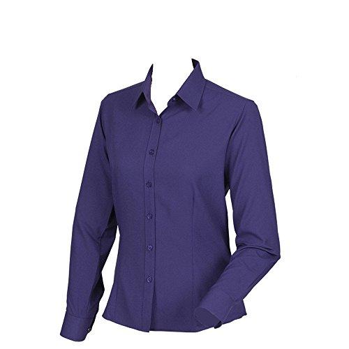 Henbury Womens Wicking Anti-Bacterial Long Sleeve Shirt Purple