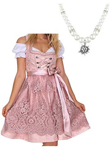 Kostüm Halloween Dirndl - Loozykit Midi Dirndl Set Bandage Bayerischen Kostüme Trachtenkleid Kurzarm Dirndlbluse für Oktoberfest Spitzenkleid Schürze und Bluse Halloween Karneval Trachten-Kleid (38, Rosa 1)