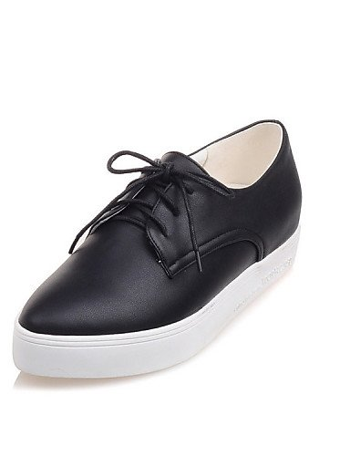 ZQ hug Scarpe Donna - Stringate - Tempo libero / Casual / Sportivo / Scarpe comode - A punta - Piatto - Finta pelle - Nero / Bianco , white-us10.5 / eu42 / uk8.5 / cn43 , white-us10.5 / eu42 / uk8.5 / black-us4-4.5 / eu34 / uk2-2.5 / cn33