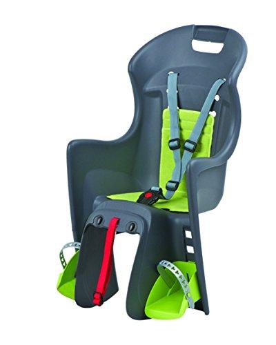 Polisport Boodie CFS mit Hinterrad Gepäckträgerbefestigung Kindersitz, Dunkelgrau/Grün, One Size