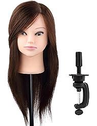 Bestmall Professionnel 100% Vrais cheveux hmuains /Têtes d'exercice Coiffure/Résistante à haute température 56cm-XJTF10K