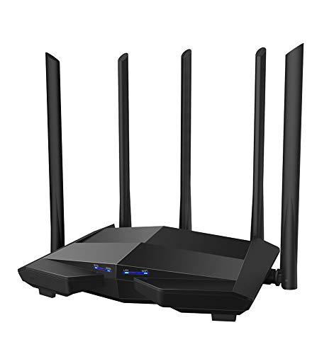 YHML Gigabit Dual-Band AC1200 WLAN-Router-Repeater mit Hochleistungsantenne 5 * 6Dbi, breiterem Gehäuse, einfache Installation für große Häuser, Büros und Hotels (Koax B Schalter A)