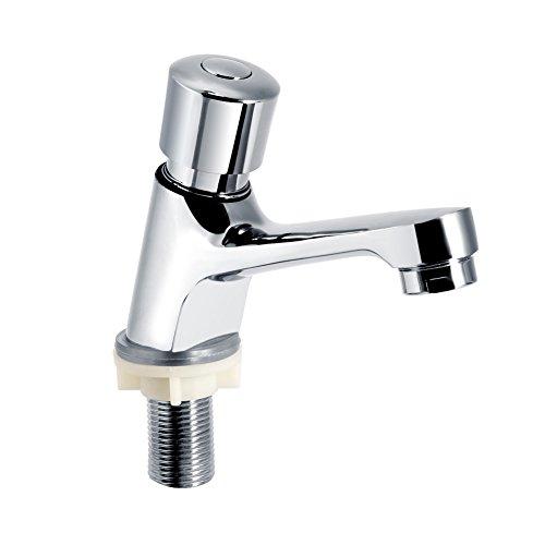 Zerodis Delay Faucet Gifo del Grifo del Baño Plateado Cromo Grifo de Cierre Automático Ahorro de Agua Grifo para el Baño de la Cocina Pública
