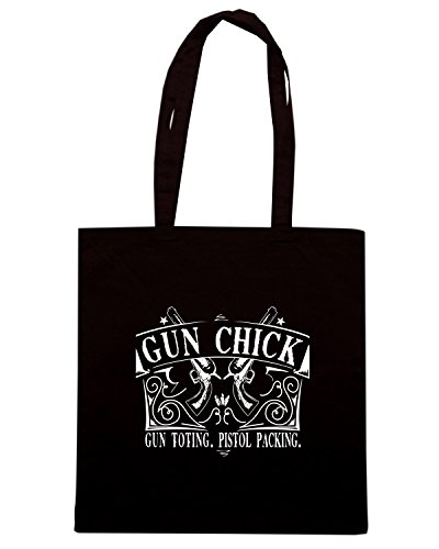 T-Shirtshock - Borsa Shopping TM0682 gun chick. gun toting. pistol packing Nero