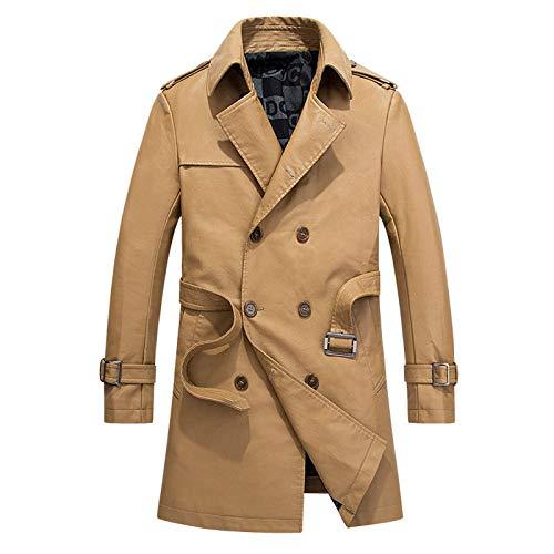 coat-Klassische Jacke Windbreaker Long Windcheater Mantel Lederjacken Business Casual Wear,Khaki-L ()