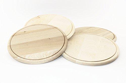 RMB 4er Set Schneide-Brettchen rund 23 cm Aufschnitt-Brett zum Servieren und Dekorieren, naturbelassen
