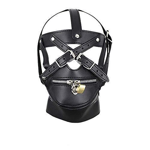 n Maske Kopfmaske Mit Reißverschluss SM Männlich Mund Zurückhaltung Zum Erwachsene Damen Unisex Sex Fetisch Sexspielzeug Liebhaber(Schwarz) ()