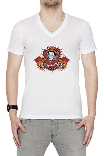 Scrittura cinese e la donna Iwth due draghi Uomo V-Collo T-shirt Bianco Cotone Maniche Corte White Men's V-neck T-shirt