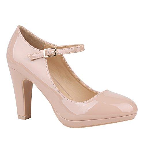 Damen Schuhe Pumps Mary Janes Veloursleder-Optik High
