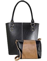 Fargo Fine Line PU Leather Women's & Girl's Shoulder Handbag & Sling Bag Combo Of 2 (Black,Beige-Black_FGO-065)