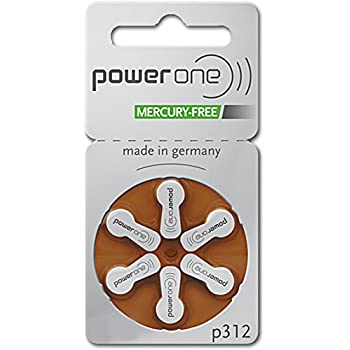 PowerOne Hearing Aid Batteries Size 312 - 10 Packs of 6 Cells