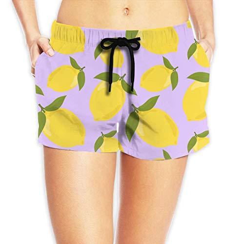 Colorful Lemon Pattern Bonsai Women's Fashion Board/Beach Shorts Casual Classic Pockets Swim Trunks(L) (Mesh Royal Shorts Classic Blue)