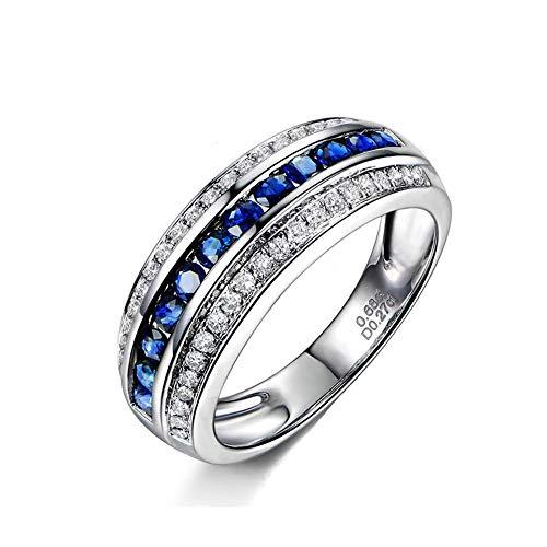 Gems.RDX Weißes Gold der Frauen 18K natürlicher runder Diamant-Blauer Saphir-Hochzeits-Verlobungsring-Ewigkeits-Ring,V1/2 (Ewigkeit Ringe Weiß Gold)