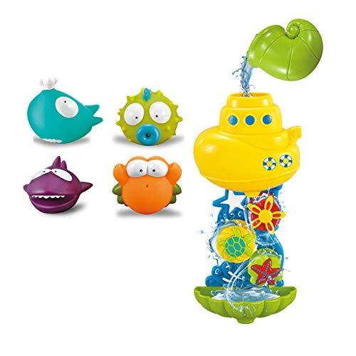 Sulifor Bad Wasser Trichter drehen Musik Spielzeug mit 4 Silikon Kinder Puzzle Bad Dusche Wasser Spielzeug