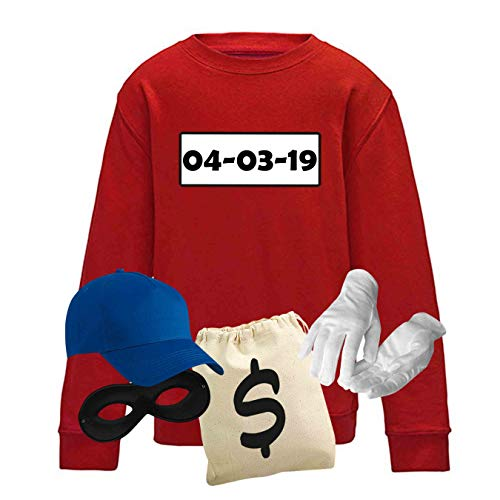 (Sweatshirt Panzerknacker Kids Deluxe+ Kostüm-Set Karneval Party Kinder 104-164 Fasching Party, Logo & Set:Rosenmontag/Set Deluxe+ (Rosenm./Shirt+Cap+Maske+Hands.+Beutel), Größe:128)