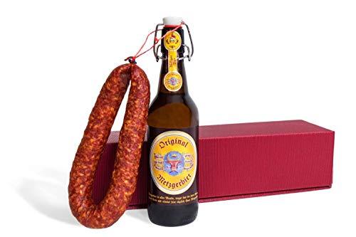 Feinkost Präsentkorb mit Salami und Bier – Geschenkset Männer mit Ahle Wurscht, 0,5L Bierflasche – Wurst