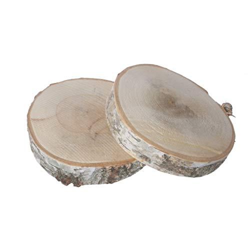 2 Birkenholzscheiben - Baumscheiben - Natur - unbehandelt - ca.Ø 18-25 cm x ca. 2-3 cm Höhe - 1VE = 2 Stück - 26975