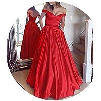skirt Vestido de Noche de Cintura con un Solo Hombro, Vestido Escotado Británico con Cuello en V Sexy,Rojo,2XL