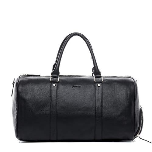 BACCINI Sporttasche mit separatem Schuh-Fach Hemden Leder Florian groß Reisetasche Unisex Weekender echte Ledertasche Damen Herren schwarz