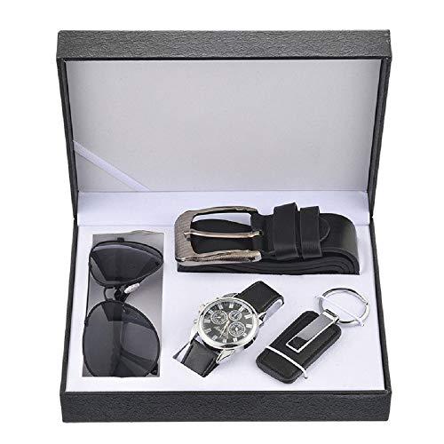 Souarts Herren Geschenkset mit Armbanduhr Männer Geldbörse Gürtel Geschenkset für Herren Schwarz (mit Sonnenbrillen)