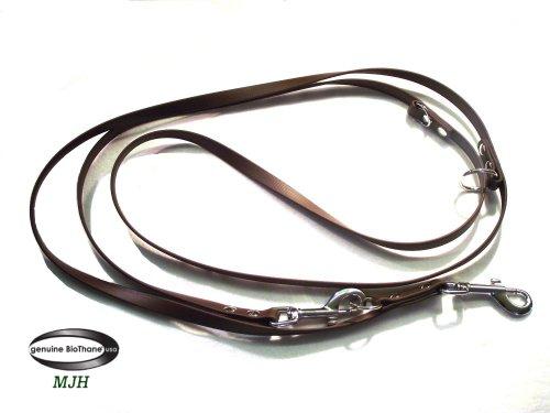 MJH Führleine BETA-BioThane 3-fach verstellbar 2m 13mm braun; für Hunde ab ca. 10-25kg