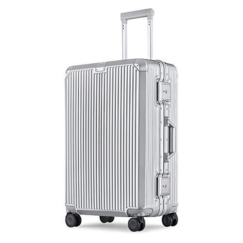 Carrello porta laptop valigia leggera in alluminio, valigia abs + policarbonato, trolley da viaggio a 4 ruote con ruote, con lucchetto tsa, borsa da viaggio, 43x27x64cm