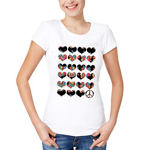 Frieden, Liebe T-shirts (ZCYTIM Neue Sommer Harajuku-Liebe und Frieden und Freiheit t-Shirts die beiläufige weiße Spitze der lustigen Frauen T-Shirt)
