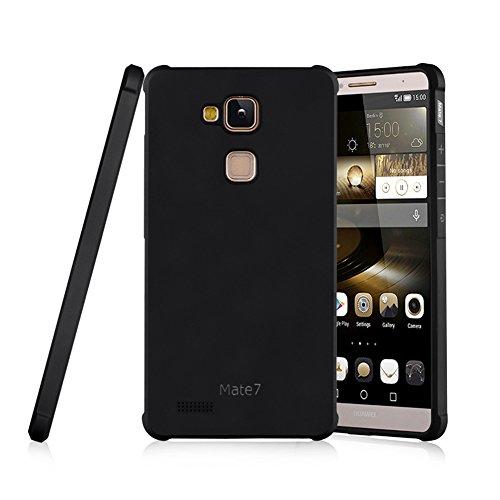Schutzhülle Huawei Ascend Mate 7 Hülle, Business Serie Stoßfest Ultra Dünn Weich Silikon Rückseite Fall für Huawei Ascend Mate 7 (Schwarz)