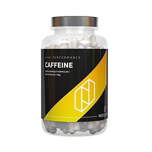 Neosupps Koffeinkapseln 200 Kapseln   Leicht zu schlucken   Optimal dosiertes reines Koffein   Verbesserte Durchblutung   Wirkt Müdigkeit entgegen   Mehr Fokus und Konzentration