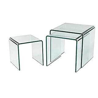 MILAN BENT GLASS NEST OF 3 CLEAR SIDE TABLES  BY ABODE INTERIORS