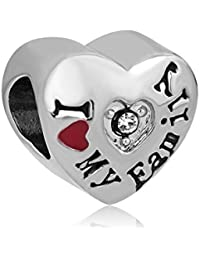 Korliya I Love My Family - Abalorio con forma de corazón para pulsera
