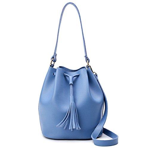 Quasten Cross-Body Schultertasche Eimer Tasche Blue