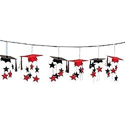 Red/Black Graduation Caps 3D Garland