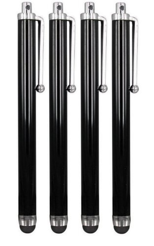 pencilupnose-4-x-black-quality-stylus-pens-for-touch-screens-ipad-iphone-ipod-samsung-htc-nokia-blac