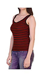 Cotton Ribs Strips Sando Cemisole Inner Tank Vest Top for Women Girls Green and Black Color Small