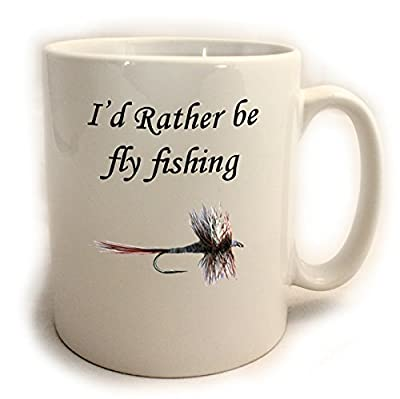 I'd Rather be fly fishing 11oz Mug. Comes with FREE Coffee Stencil