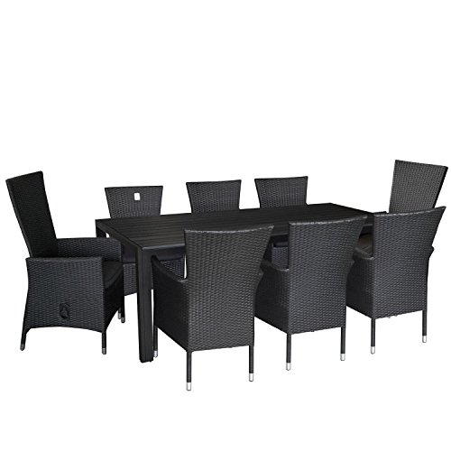 9tlg. Gartengarnitur Terrassenmöbel Set Aluminium Polywood Tisch 205x90cm Poly-Rattan Sessel 6x Rattansessel stapelbar 2x Gartensessel stufenlos verstellbare Rückenlehne Polyrattan inkl. Sitzkissen Stapelstuhl Sitzgarnitur Sitzgruppe