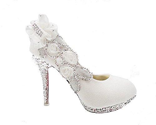 AgooLar Femme à Talon Haut Rond Chaussures Légeres avec Boule Floral Blanc(FCT)